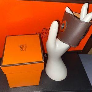 💯 Auth Hermes Dark Brown Leather Bracelet Cuff